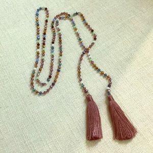 Crystal & tassel necklace